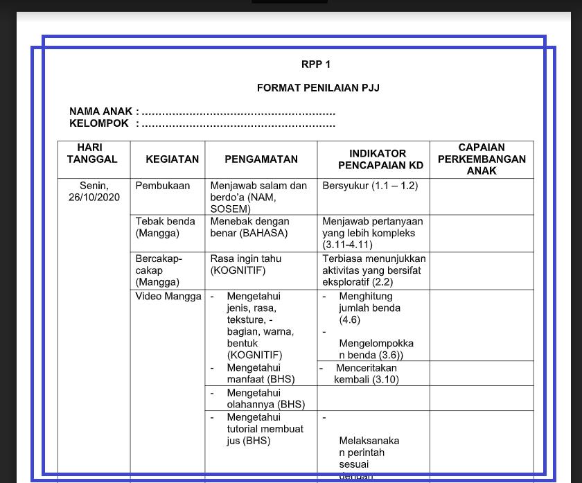gambar format penilaian pembelajaran jarak jauh 2021