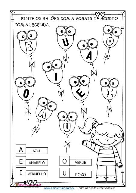 1º ano, Atividades 1º ano, Educação Infantil, Atividade de Alfabetização, Reconhecimento das vogais, Atividades com vogais, Atividades com vogais, Atividade para alfabetização, melodia das vogais, Amorensina, Alfabetizar com amor,