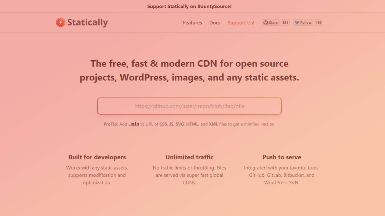 Kini Statically Support Minify CSS, JS, SVG, HTML, XML