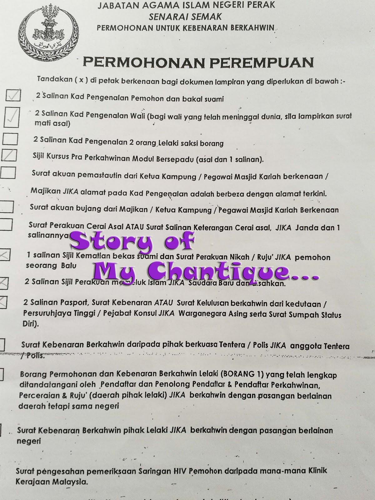 Story Of My Chantique Prosedur Nikah Di Negeri Perak Cute766