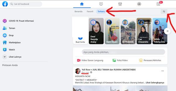 cara merubah status terbaru muncul di beranda facebook