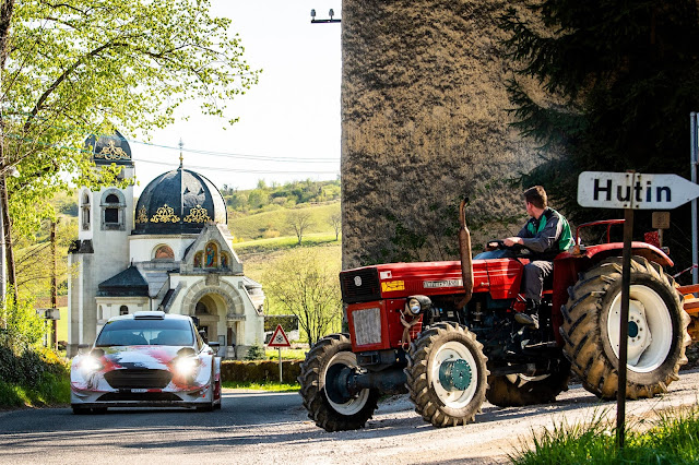 Rally car and tractor