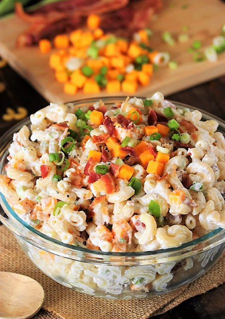 Bowl of Loaded Baked Potato Macaroni Salad Image