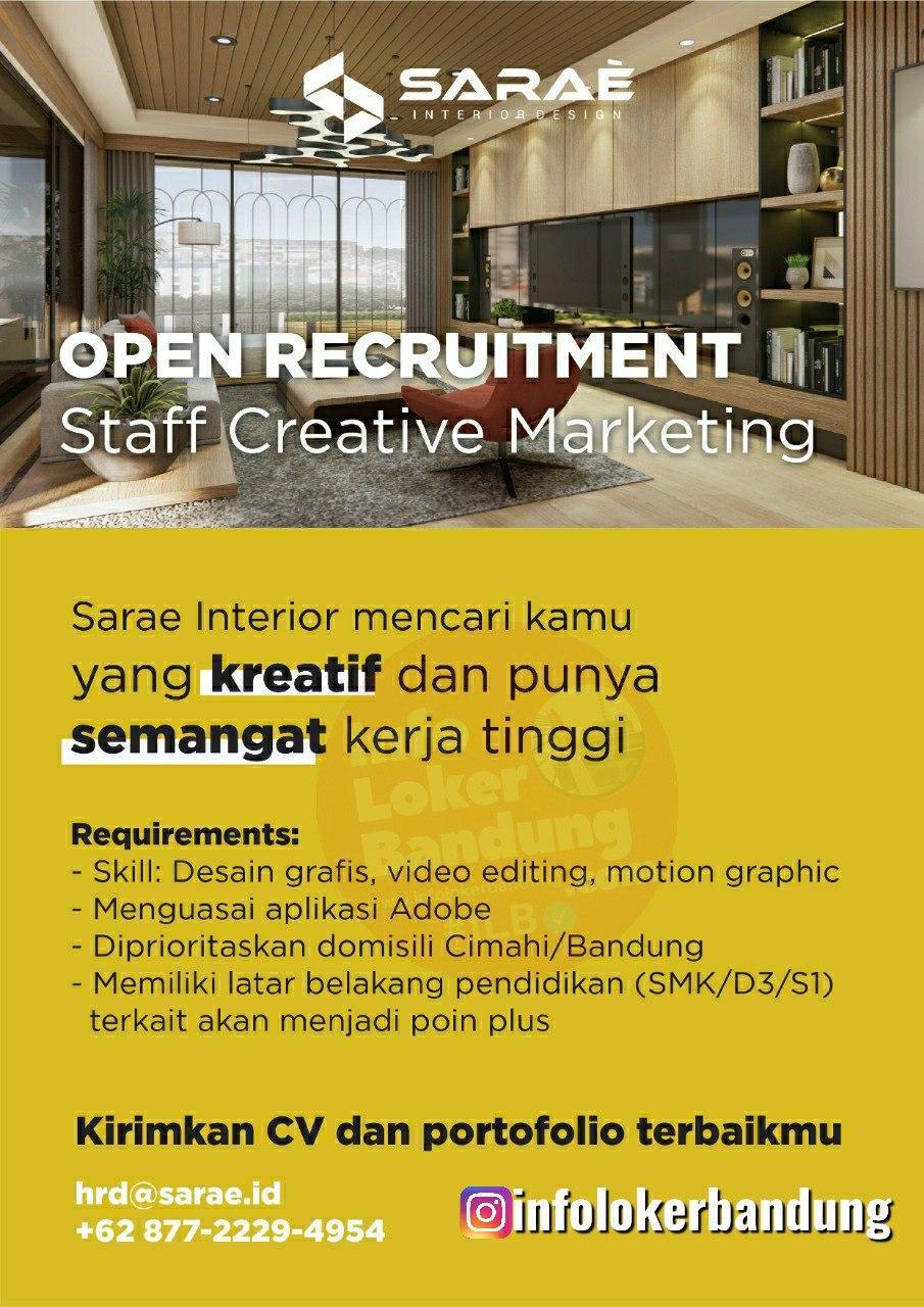 Lowongan Kerja SARAÈ Interior (PT Niaga Sarae Internusa) Bandung September 2020