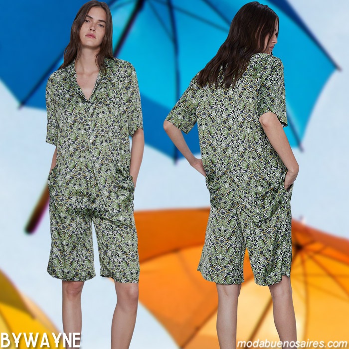 ropa de moda mujer verano 2021 monos cortos tipo pijama