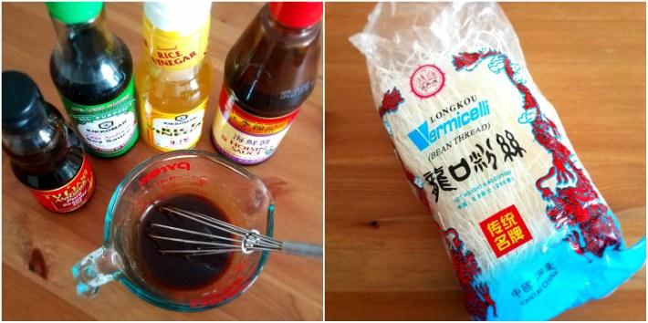 Salsa para los wraps de lechuga y fideos para acompañar
