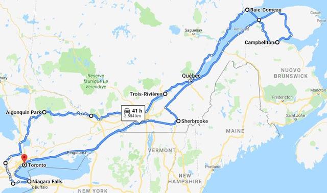 mappa itinerario canada orientale