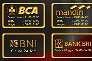 Jam Online Bank BCA, MANDIRI, BRI, BNI Beli Saldo Pulsa Top Up Saldo KhPulsa