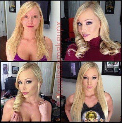 Atrizes porno com e sem maquilhagem