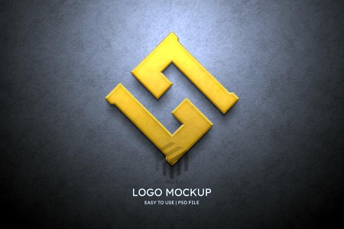 3D Logo Mockup Grey Wall Psd Mockup