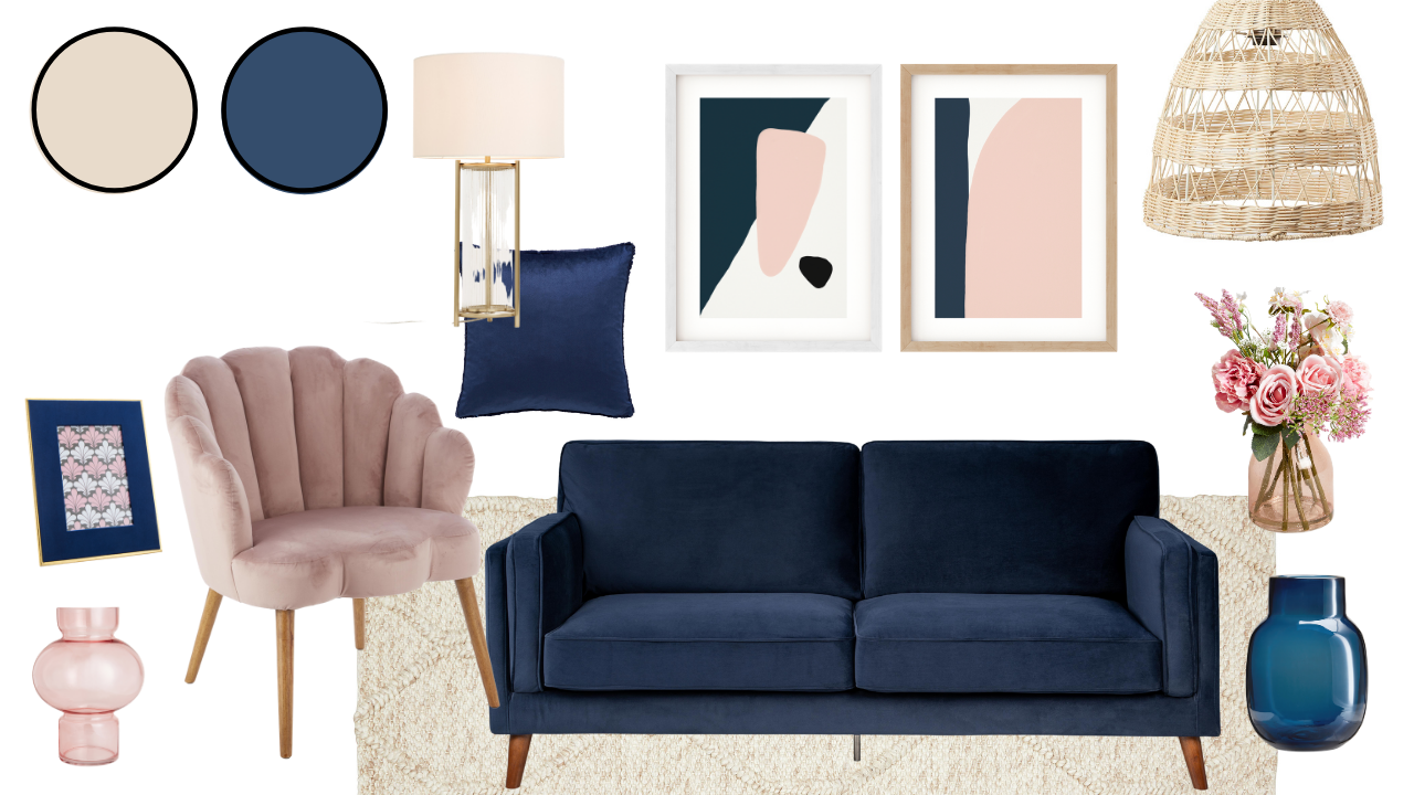 Colour schemes to introduce spring shades in your home. Pink and green interior styles, plus navy blue and pink colour schemes