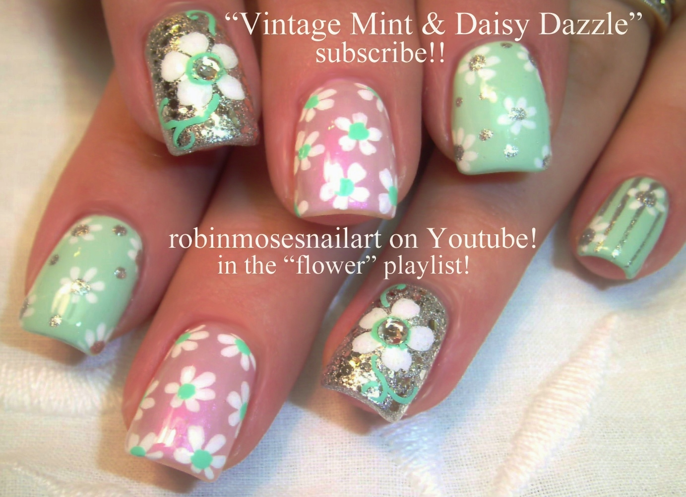 Nail Art By Robin Moses Gold Butterfly Nail Art Silver And Mint