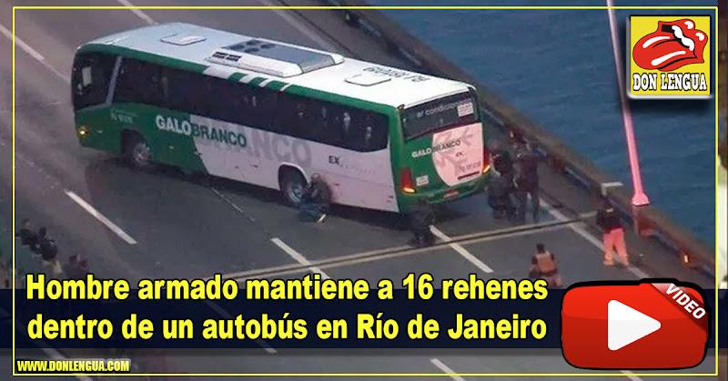 Hombre armado mantiene a 16 rehenes dentro de un autobús en Río de Janeiro