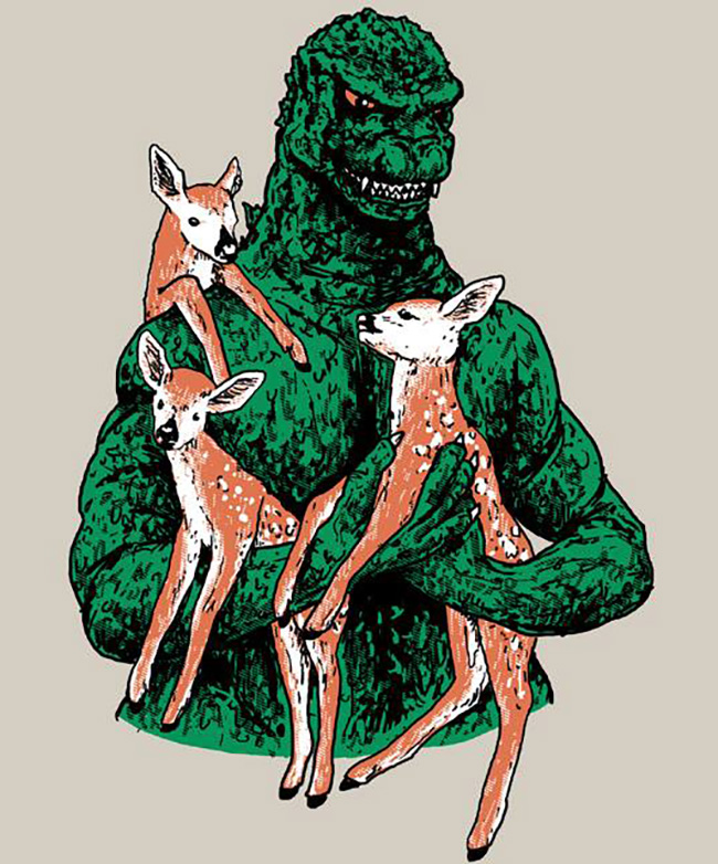 Hillary White Rabbit (US) - Godzilla print