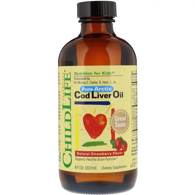 ChildLife, Жир печени трески, природный клубничный вкус, 237 мл
