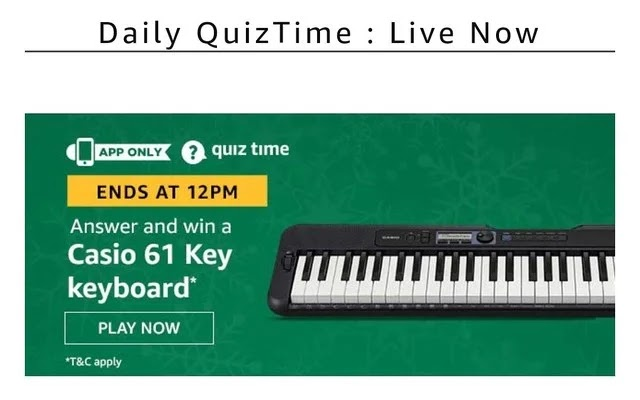 3 January Amazon Quiz Answer