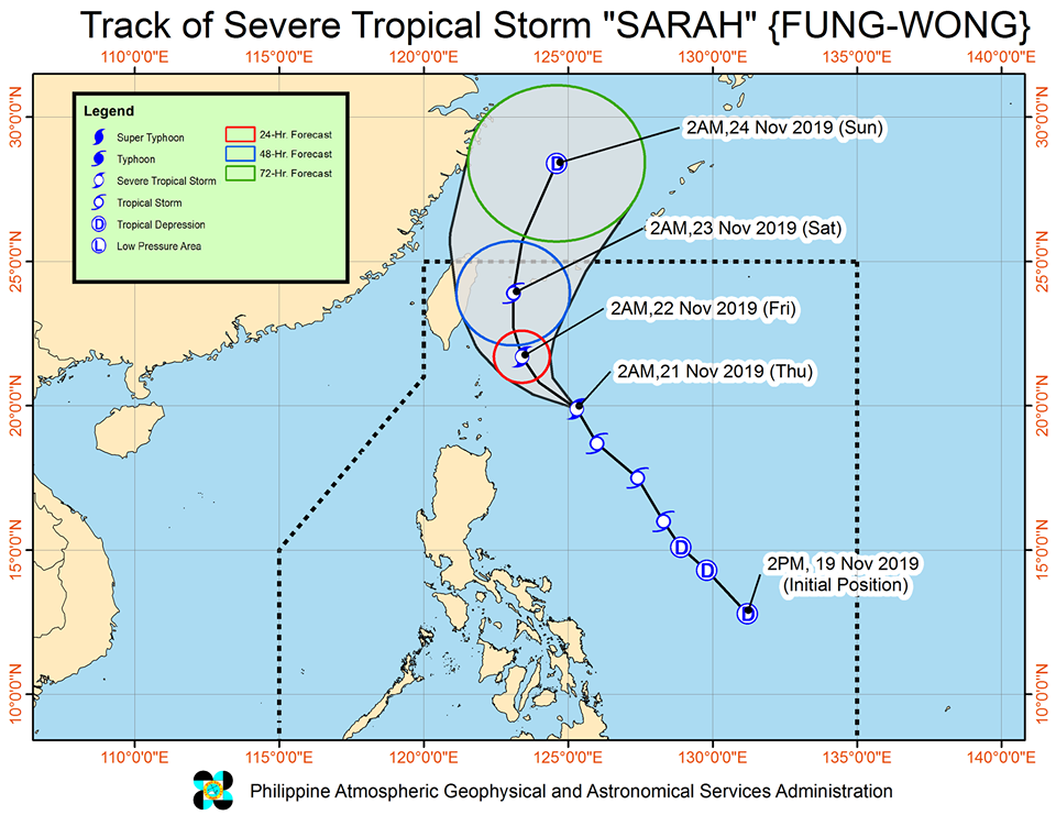 Track of  Severe Tropical Storm Sarah as of November 21, 2019