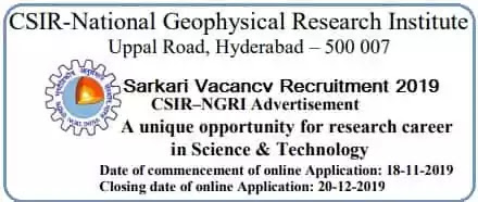 Scientist Vacancy Recruitment in NGRI Hyderabad 2019