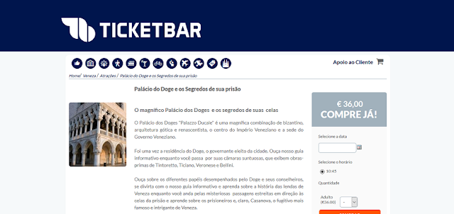 Ticketbar para ingressos para o Palácio Doge em Veneza