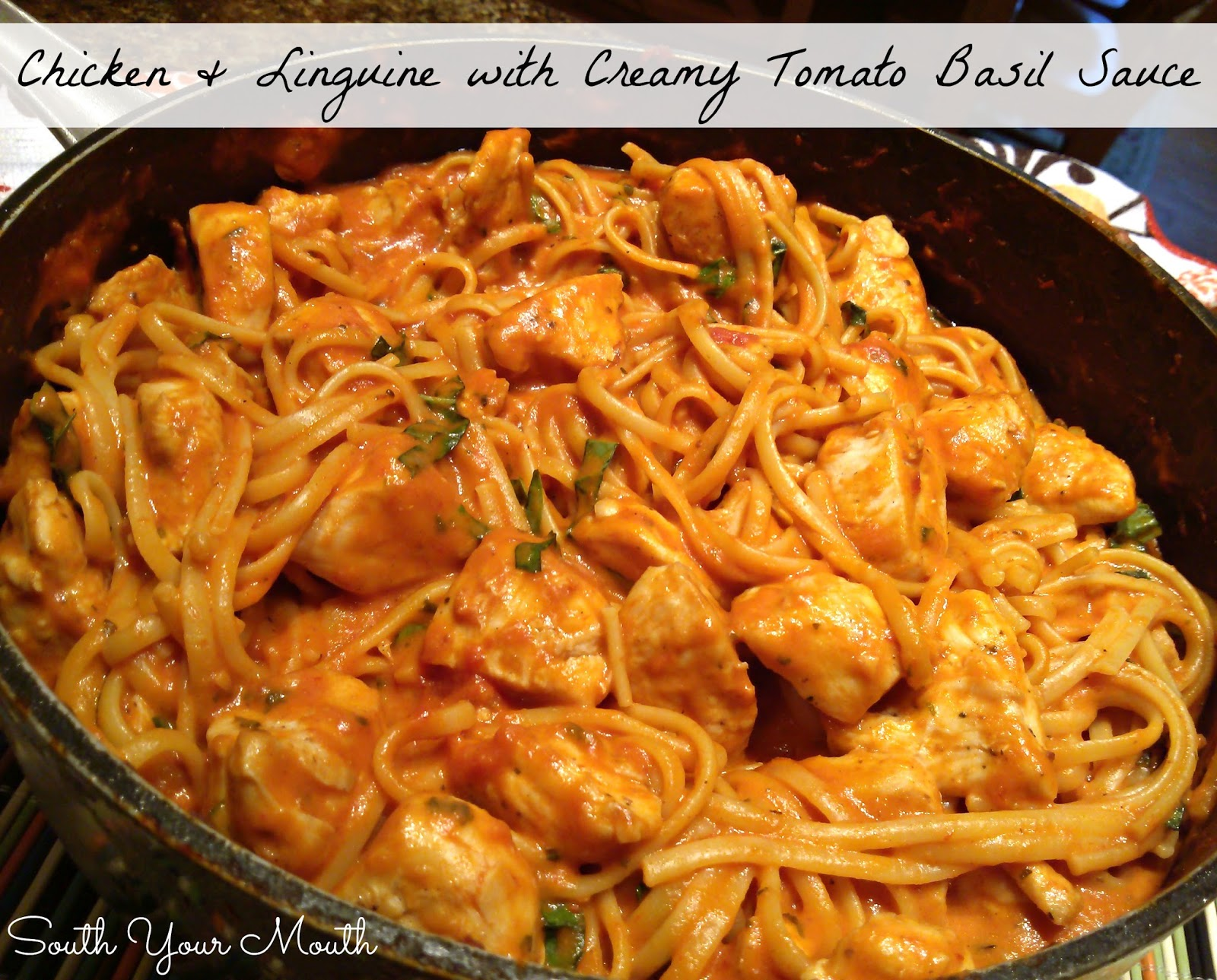 Linguine With Chicken Cook Together In One Pan A Creamy Tomato Sauce Fresh Basil