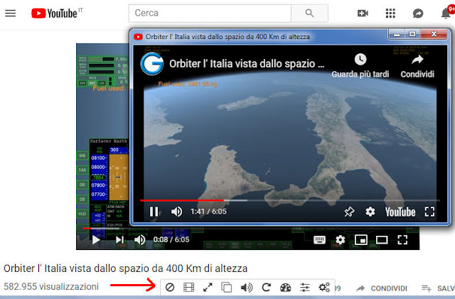 Enhancer for YouTube barra degli strumenti dell'estensione e video YouTube staccato in finestra a parte