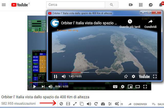 Enhancer for YouTube barra degli strumenti dell'estensione e video YouTube staccato in finestra a parte