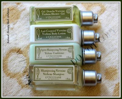L'Occitane Verbena Shower Gel, Body Lotion Shampoo & Conditioner (travel set)