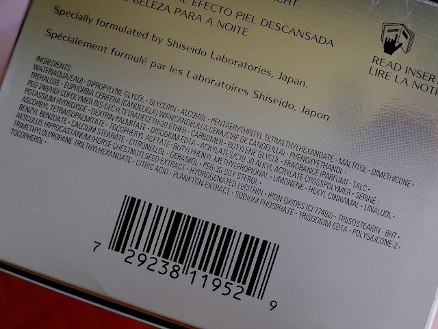 Shiseido Ibuki Beauty Sleeping Mask Ingredients