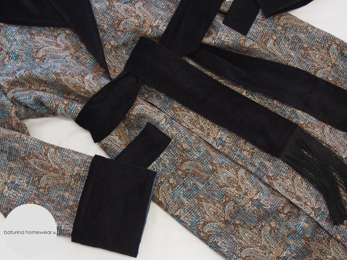 Men\'s Silk-Lined Wool & Velvet Dressing Gown