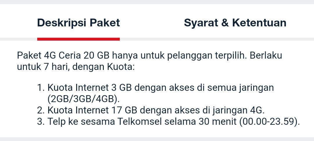 Deskripsi paket 4G ceria telkomsel