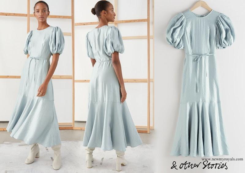 Crown Princess Victoria wore & OTHER STORIES Metallic Crepe Puff Sleeve Midi Dress