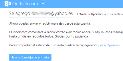 conectar yahoo y Outlook mail