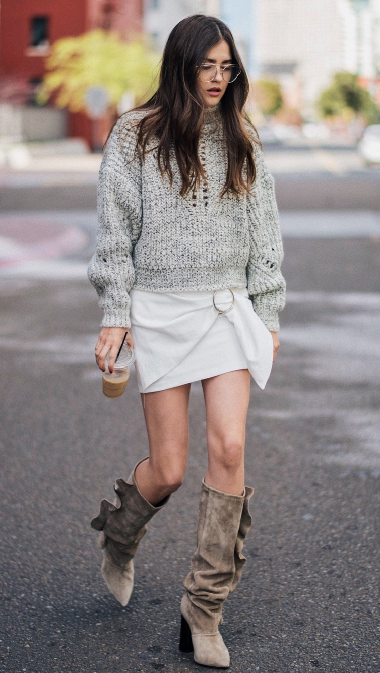 beautiful outfit idea / knit sweater + white skirt + high boots
