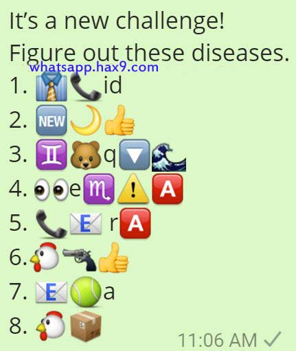 Figure out these Diseases Whatsapp Emoticons Quiz