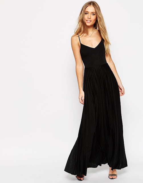 asos black maxi dress, black cami maxi dress pleat skirt,