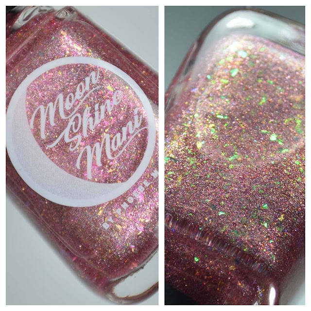 pink flakie nail polish in a bottle