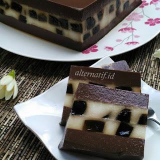 Resep Puding Cincau Hitam Lapis Coklat