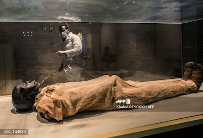 Sensitizing mummies sections at the Egyptian museum of Cairo