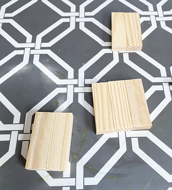 sets of 2 and 3 blocks side by side