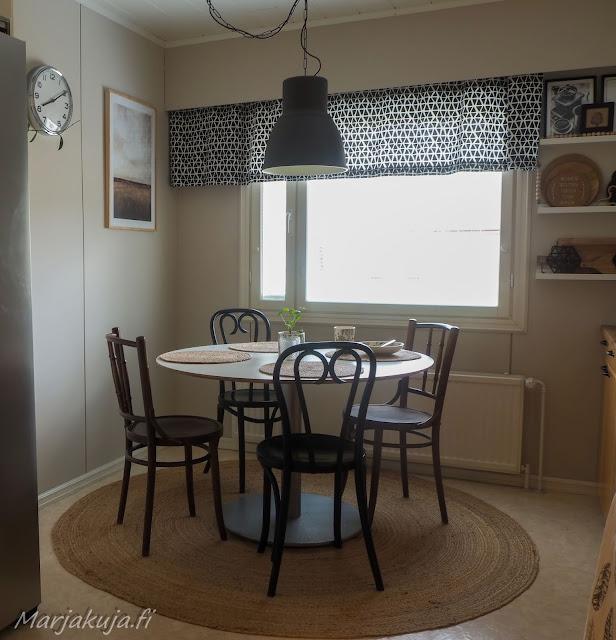 koti sisustus boheemi boho skandinaavinen juutti keittiö matto pöytä