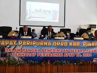 DPRD Pinrang Setujui Ranperda APBD-P TA 2021 Siap Untuk Dibahas