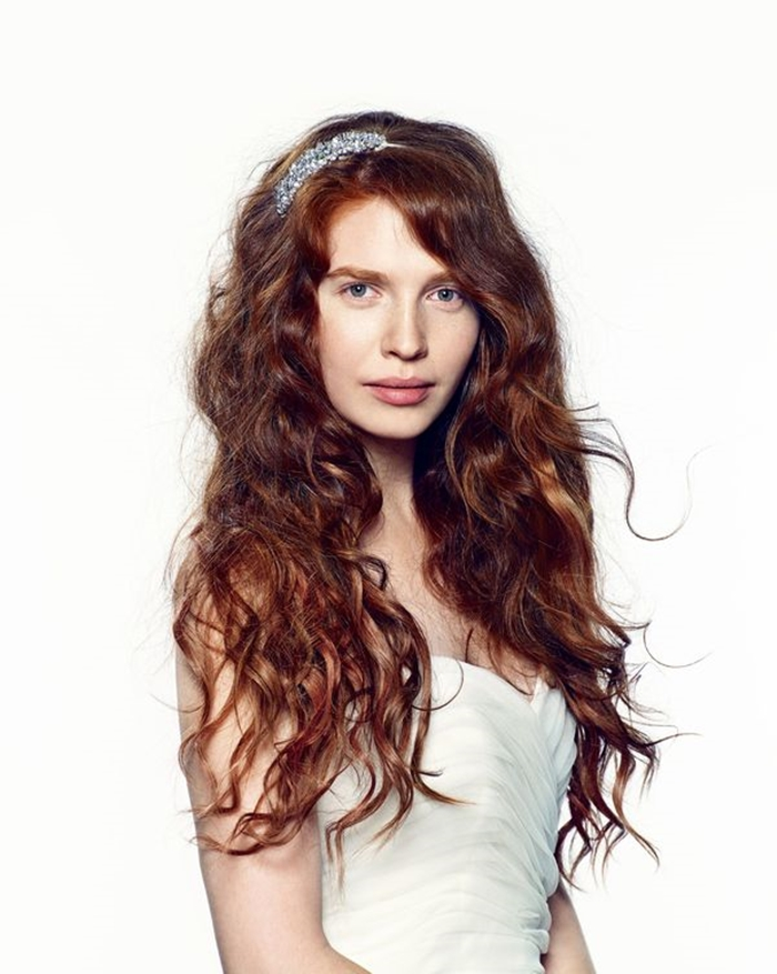 ginger bridal long curly hairstyle