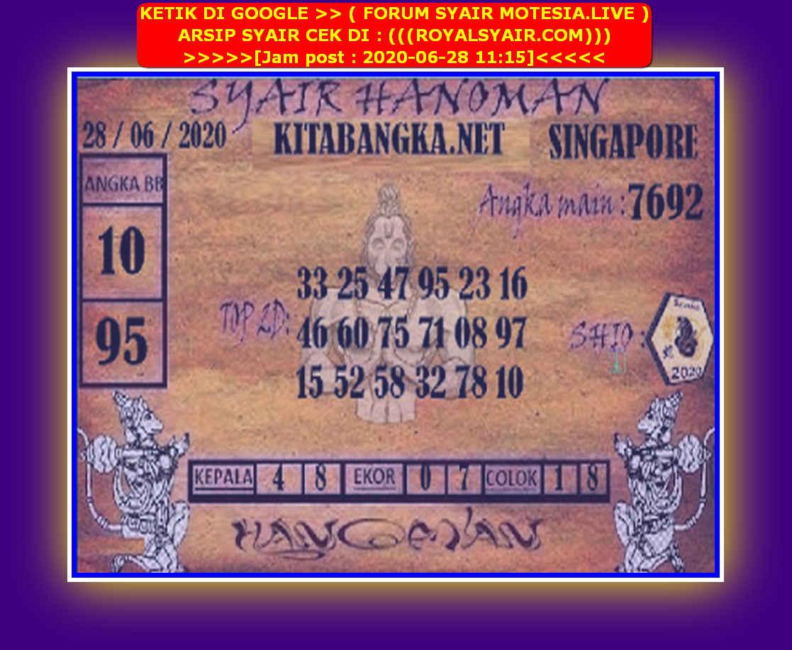 Kode syair Singapore Minggu 28 Juni 2020 114