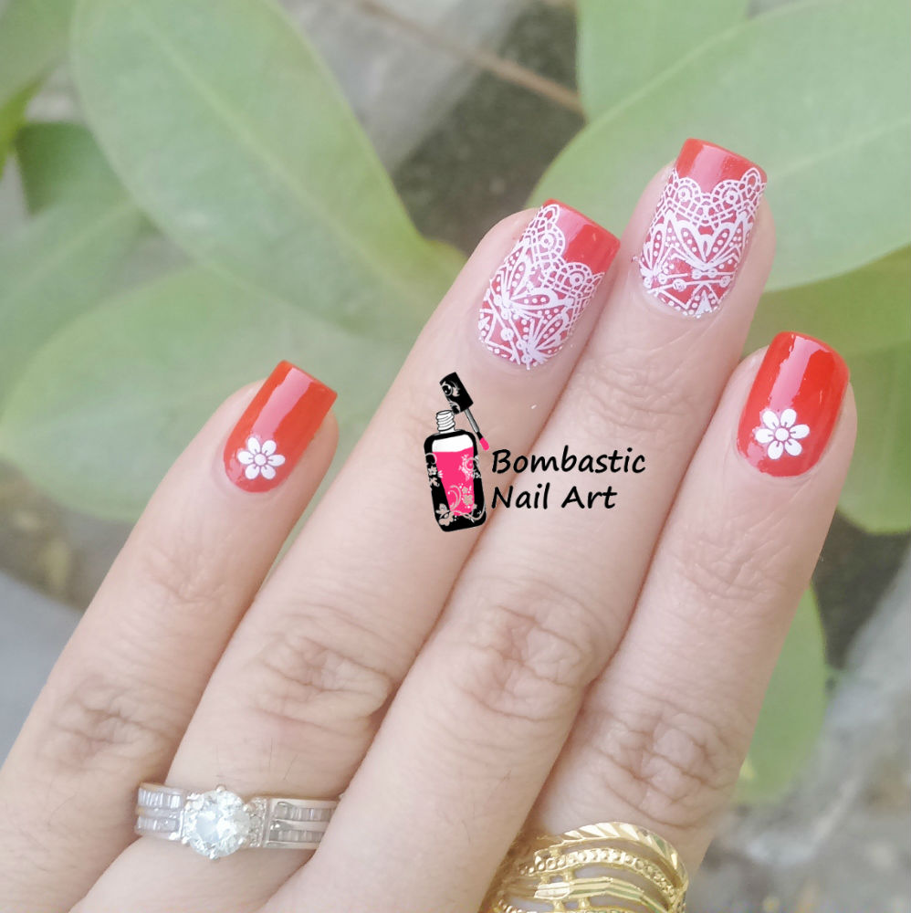 White Lace Nail Art With Water Slide Decals Bombastic Nail Art