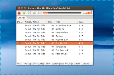DeaDBeef Music Player For Linux Main Window