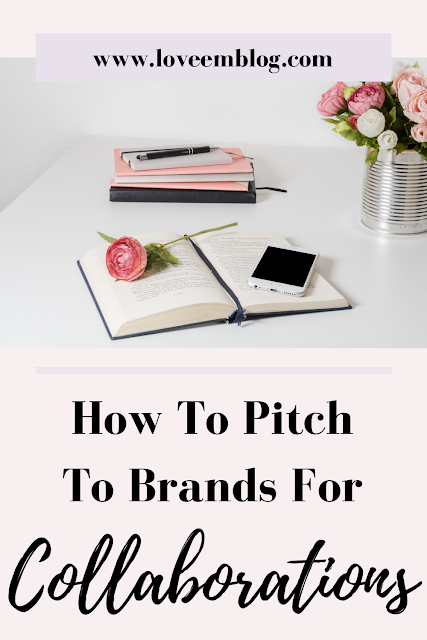 "Pink pinterest pin with black calligraphy at the bottom saying ""how to pitch to brands"""