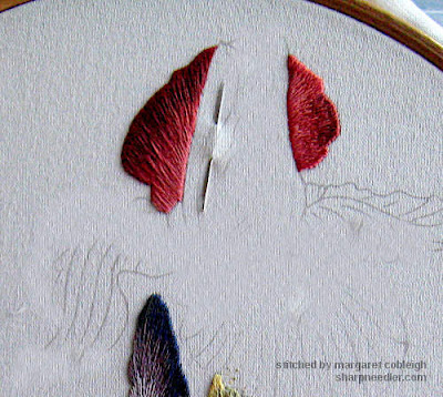 Thread painted iris petal - Iris Spartan (design by Trish Burr)