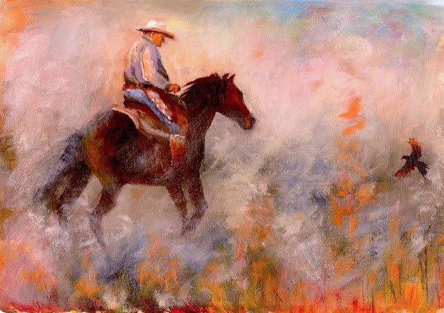oil painting of a cowboy on horseback burning the stubble