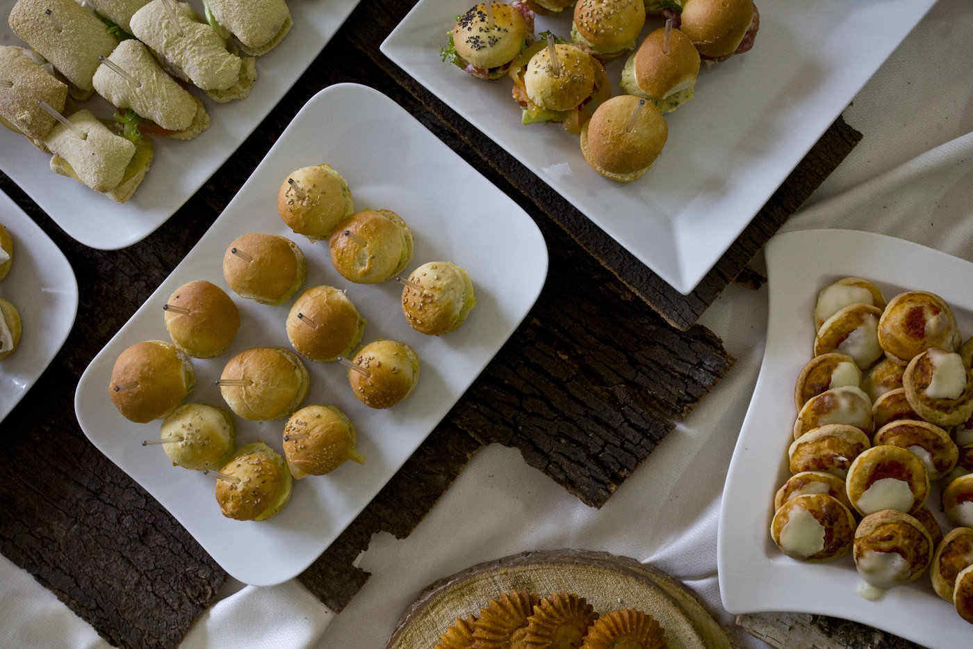 plates of toothpick party foods