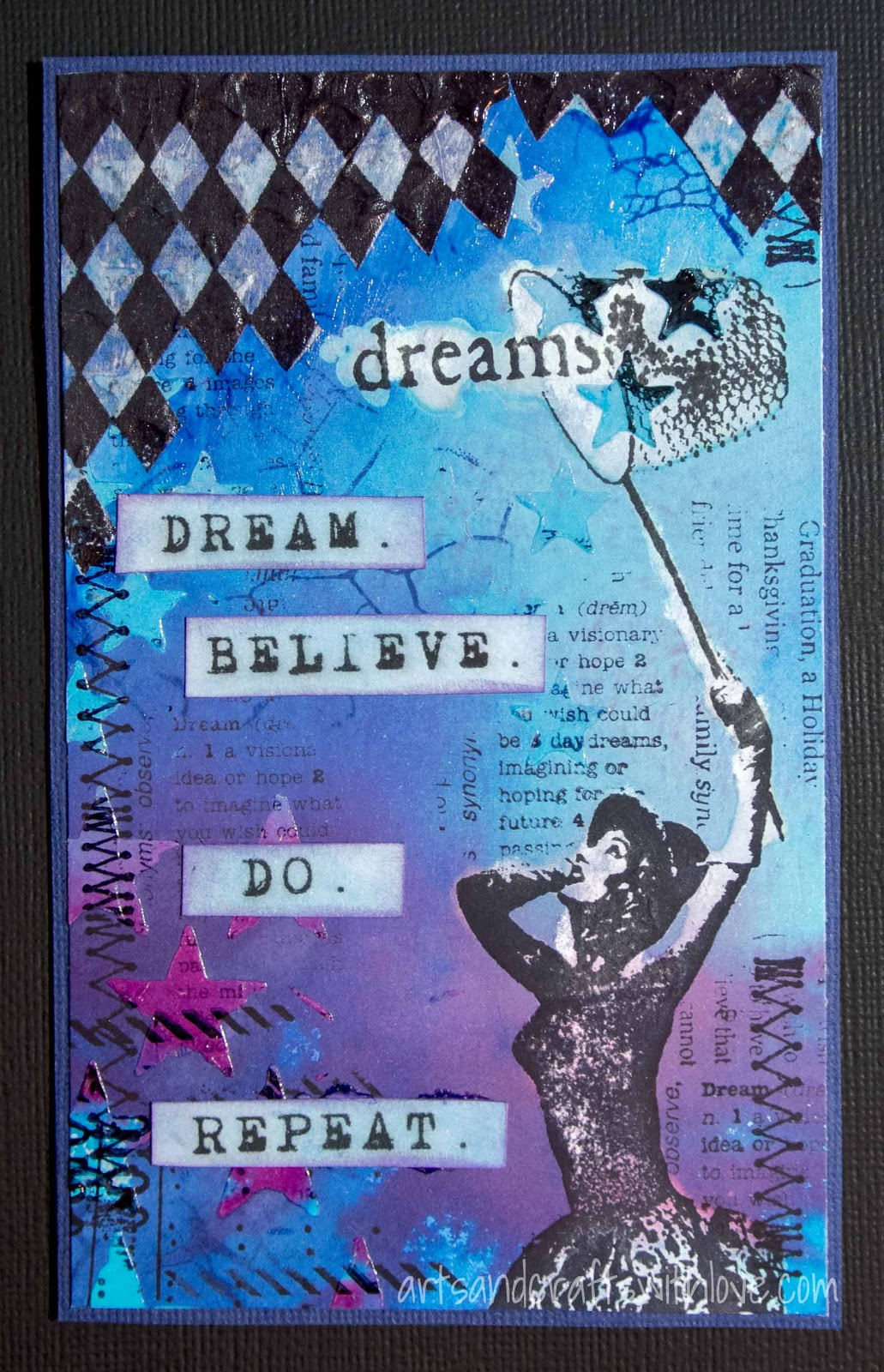 Cardmaking: Card for Craft Stamper TIMI blog hop: Dream. Believe. Do. Repeat